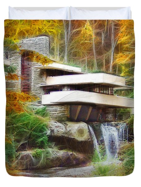 Fixer Upper - Square Version - Frank Lloyd Wright's Fallingwater Duvet Cover