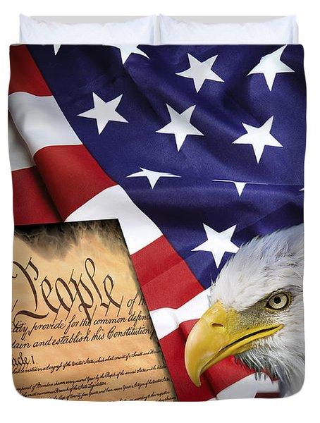 Flag Constitution Eagle Duvet Cover by Daniel Hagerman
