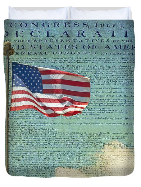 Flag - Declaration Of Independence -  Luther Fine Art Duvet Cover by Luther Fine Art