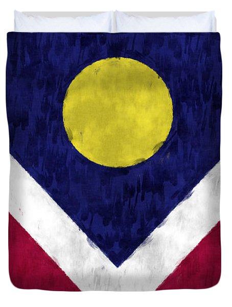 Flag Of Denver Duvet Cover by World Art Prints And Designs