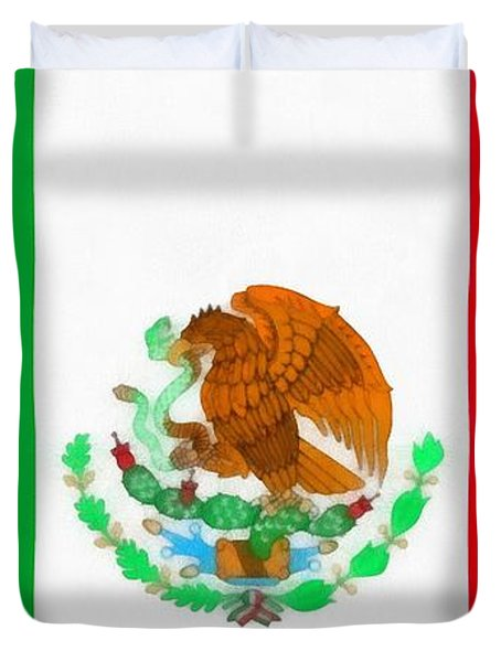 Flag Of Mexico Duvet Cover by Dan Sproul
