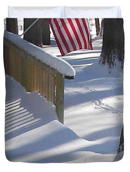 Flag Over Morning Snow Duvet Cover