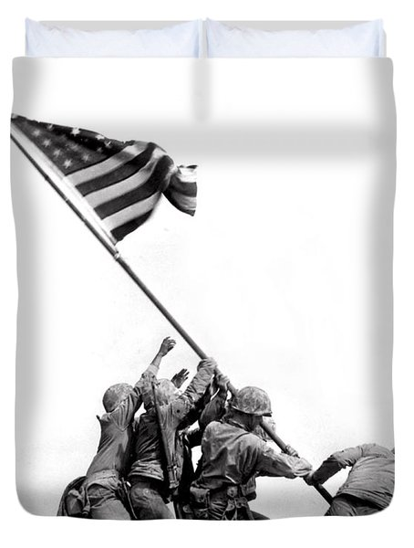 Flag Raising At Iwo Jima Duvet Cover