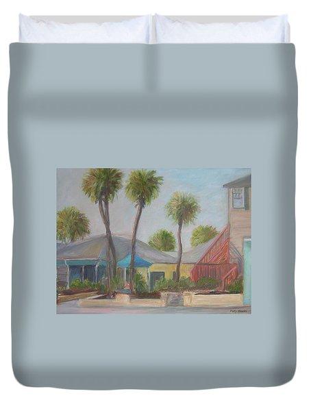 Flagler Beach Shops Duvet Cover