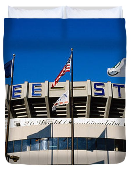 Flags In Front Of A Stadium, Yankee Duvet Cover by Panoramic Images