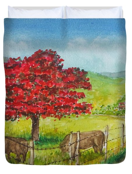 Flamboyan And Cows In Western Puerto Rico Duvet Cover