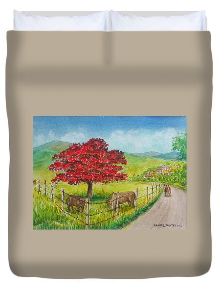 Flamboyan And Cows In Western Puerto Rico Duvet Cover by Frank Hunter