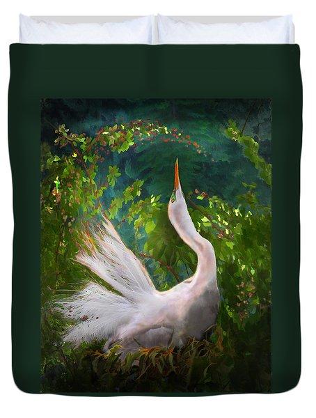 Flamboyant Egret Duvet Cover by Melinda Hughes-Berland