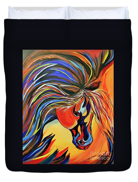 Flame Bold And Colorful War Horse Duvet Cover by Janice Rae Pariza