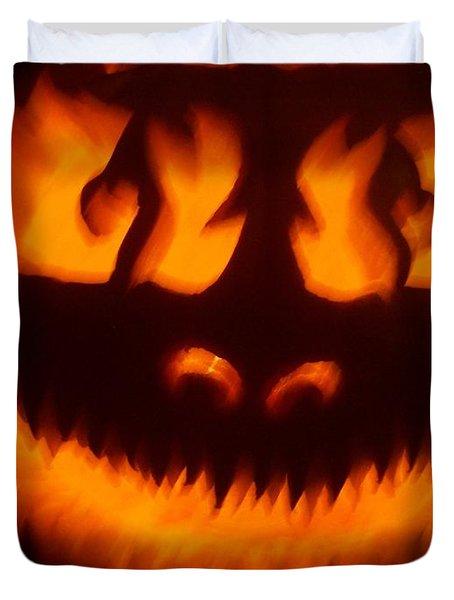 Flame Pumpkin Duvet Cover
