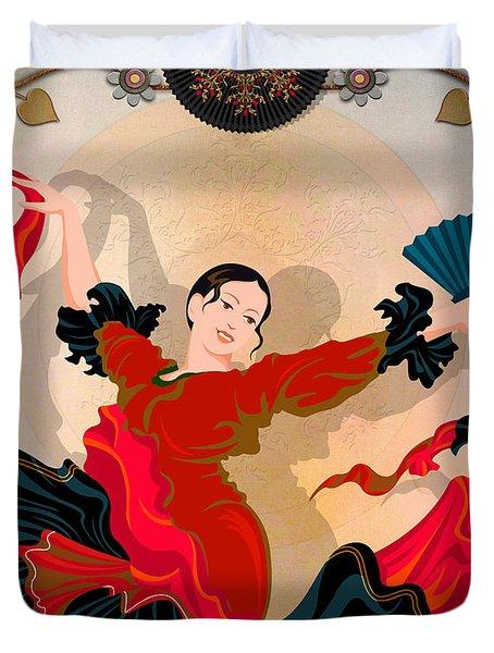 Flamenco Dancer Duvet Cover by Bedros Awak