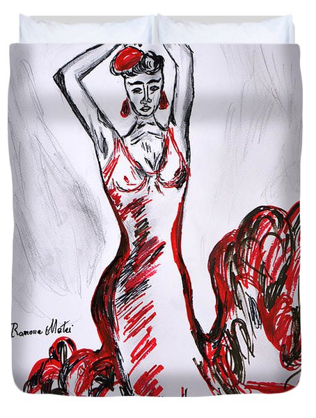 Red Flamenco  Duvet Cover