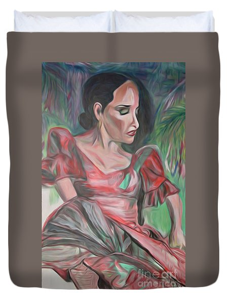 Duvet Cover featuring the painting Flamenco Solo by Ecinja Art Works