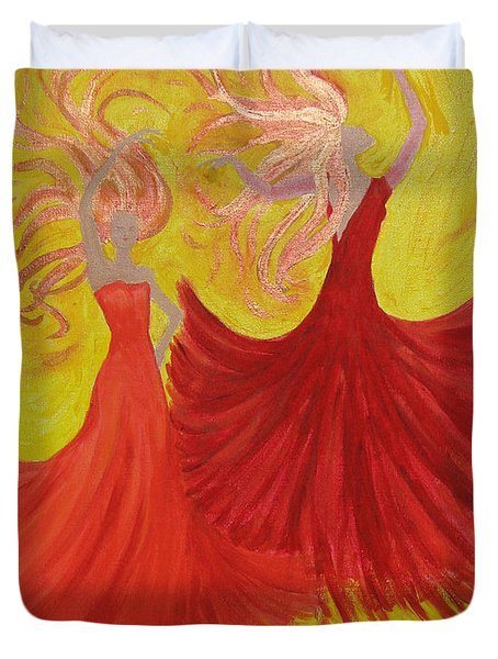 Duvet Cover featuring the painting Flamenco by Stephanie Grant