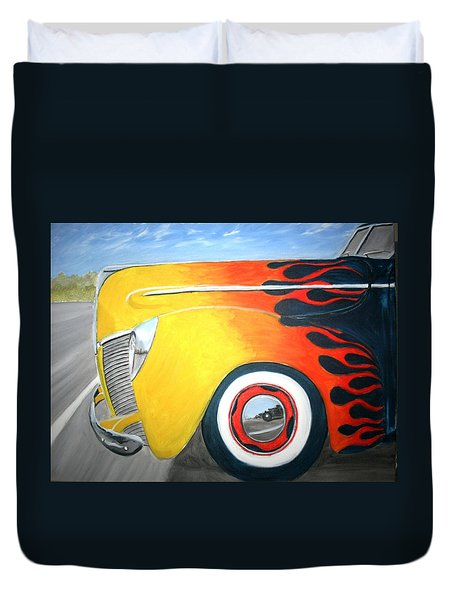 Duvet Cover featuring the painting Flames by Stacy C Bottoms