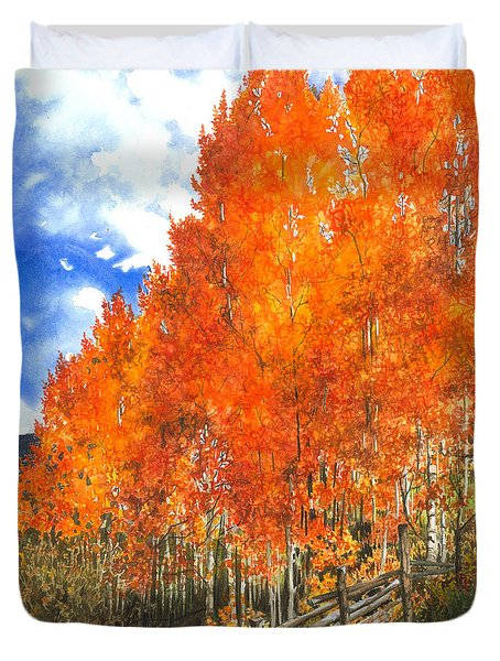 Flaming Aspens Duvet Cover by Barbara Jewell