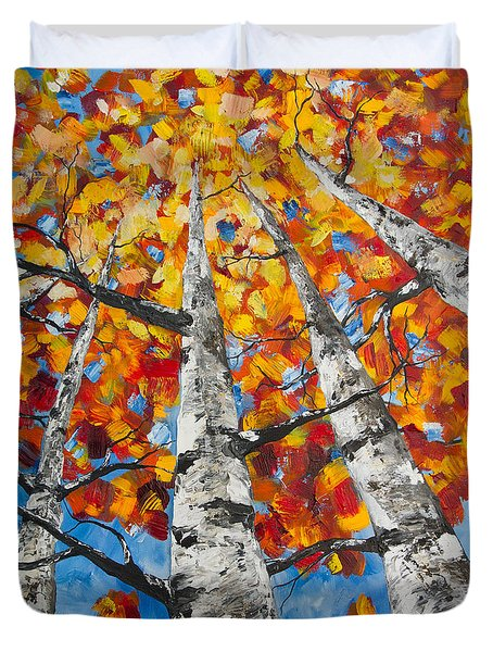 Flaming Aspens Duvet Cover
