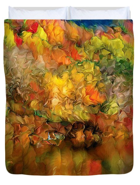 Flaming Autumn Abstract Duvet Cover