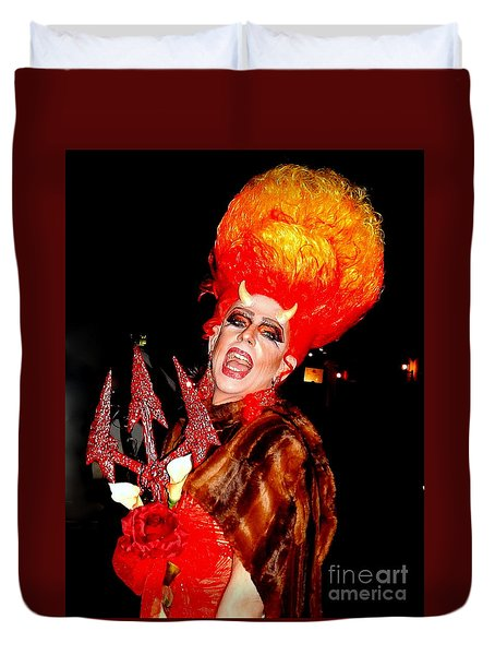 Halloween Flamming Devilish Deva Costume In The French Quarter Of New Orleans Duvet Cover