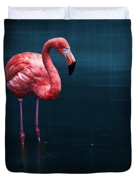 Flamingo - Blue Duvet Cover by Hannes Cmarits