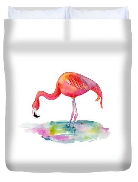 Flamingo Dip Duvet Cover by Amy Kirkpatrick
