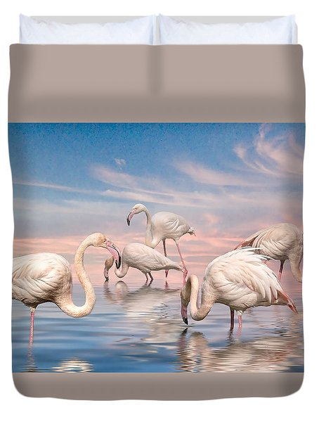 Flamingo Lagoon Duvet Cover by Brian Tarr