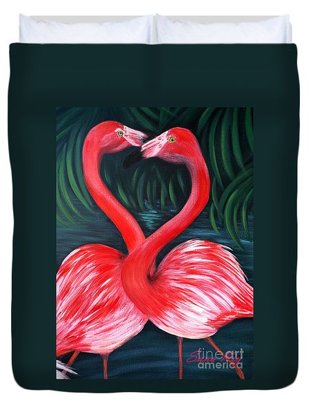 Flamingo Love Card Duvet Cover