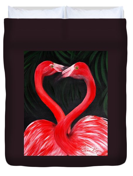Love  Is... Flamingo Love. Inspirations Collection Duvet Cover