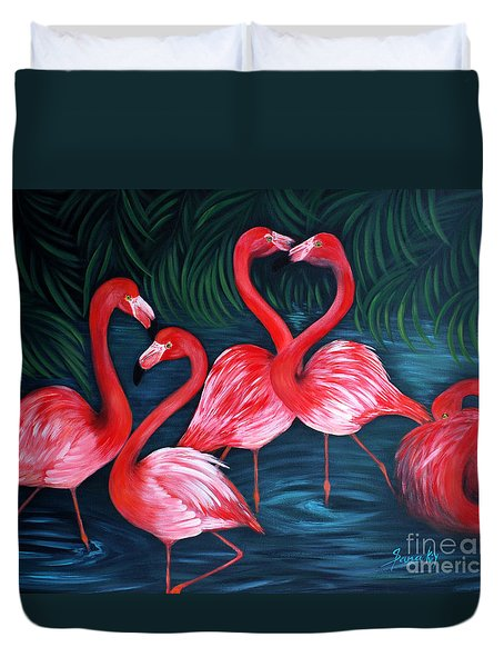 Flamingo Love. Inspirations Collection. Special Greeting Card Duvet Cover