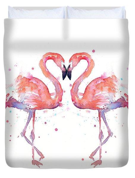 Flamingo Love Watercolor Duvet Cover