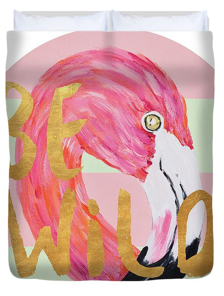Flamingo On Stripes Round Duvet Cover