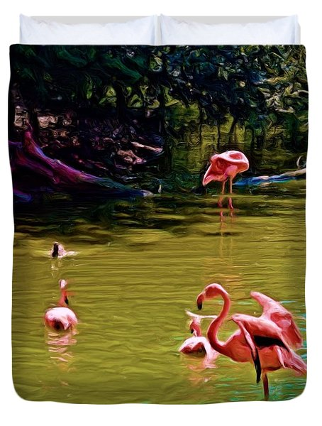 Flamingo Party Duvet Cover by Luther Fine Art