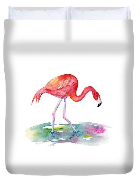 Flamingo Step Duvet Cover by Amy Kirkpatrick
