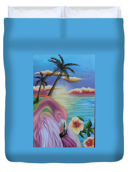 Duvet Cover featuring the painting Flamingo Sunset by Dianna Lewis
