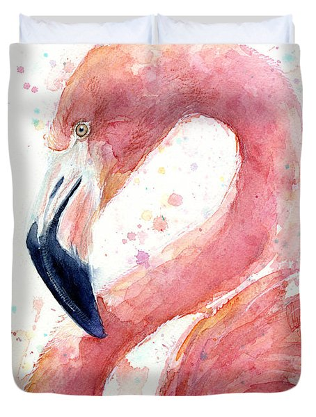Flamingo Watercolor Painting Duvet Cover