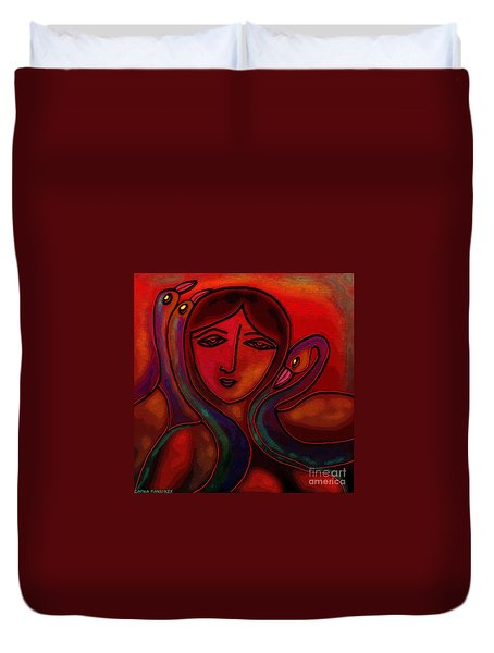 Duvet Cover featuring the digital art Flamingoes- Mural Style by Latha Gokuldas Panicker