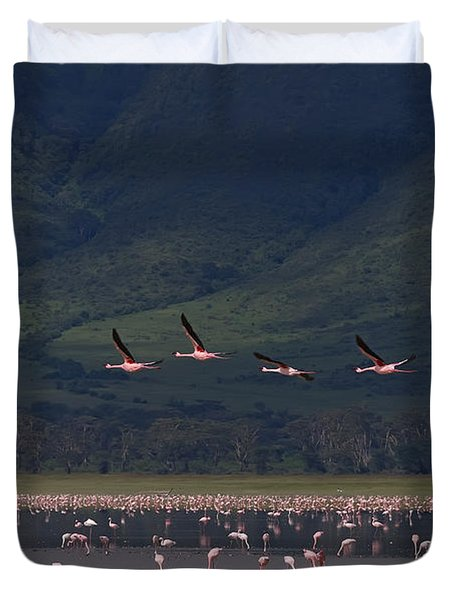 Duvet Cover featuring the photograph Flamingos  #6590 by J L Woody Wooden