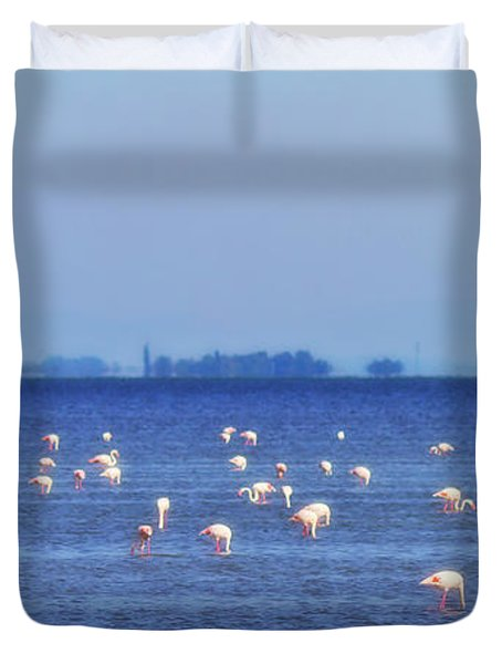 Flamingos In The Pond Duvet Cover