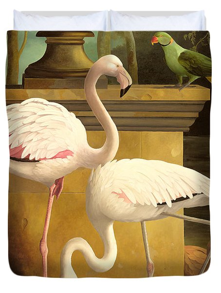 Flamingos Duvet Cover by Lizzie Riches