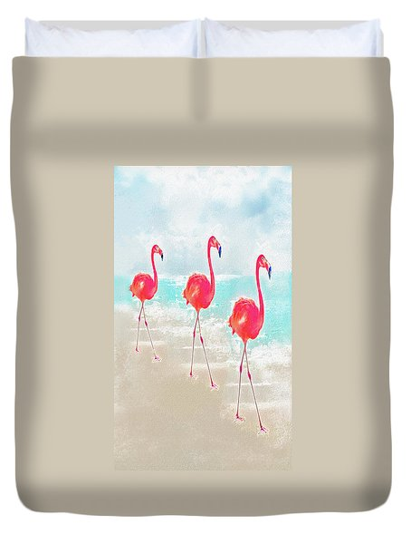 Duvet Cover featuring the digital art Flamingos On The Beach by Jane Schnetlage