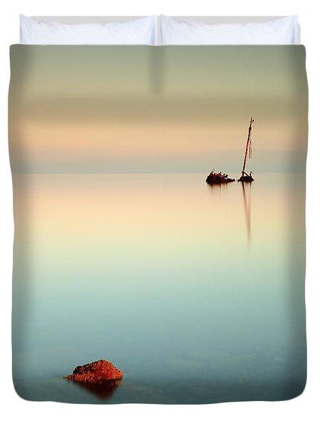 Flat Calm Shipwreck Sunrise Duvet Cover