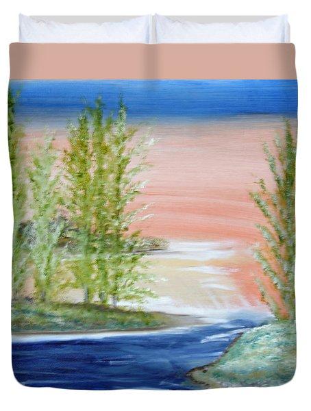 Flathead Lake Sunset Duvet Cover