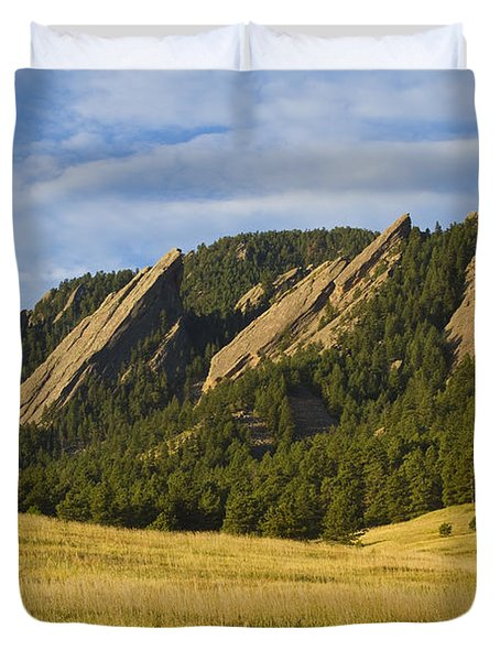 Flatiron Morning Light Boulder Colorado Duvet Cover