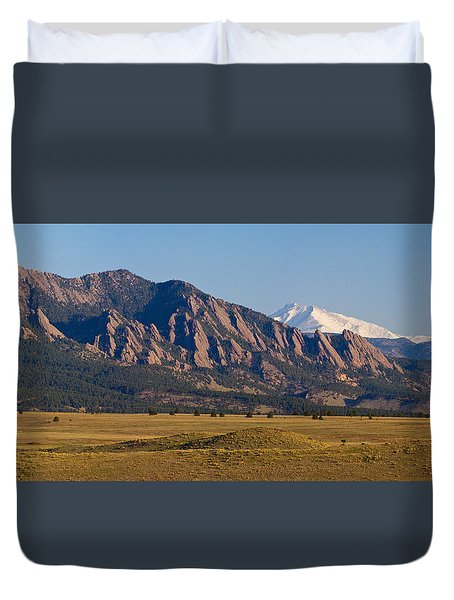 Flatirons And Snow Covered Longs Peak Panorama Duvet Cover