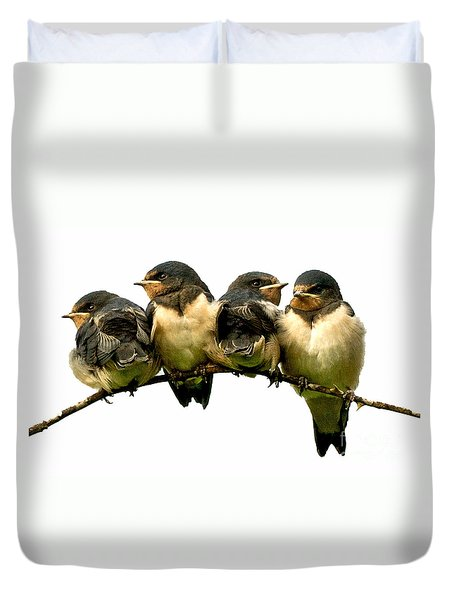 Duvet Cover featuring the photograph Fledglings by Liz  Alderdice