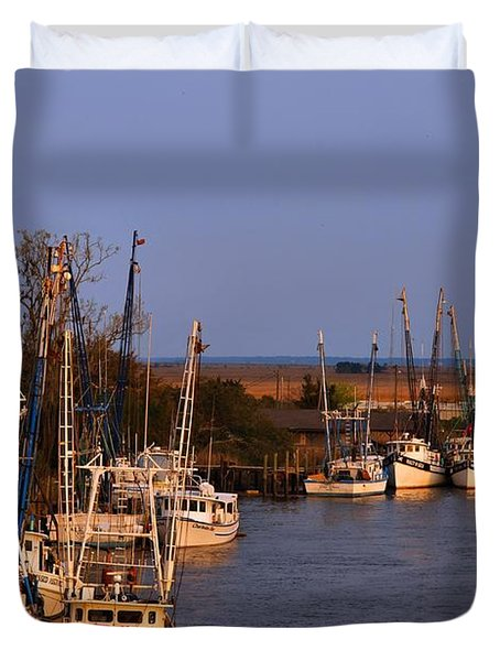 Duvet Cover featuring the photograph Fleet's In by Laura Ragland