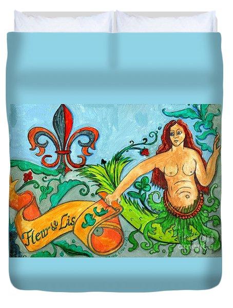 Fleur De Lis Mermaid Duvet Cover by Genevieve Esson