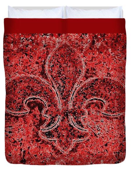 Fleur De Lis Red Ice Duvet Cover by Janine Riley