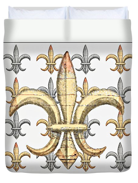 Fleur De Lys Silver And Gold Duvet Cover by Barbara Chichester