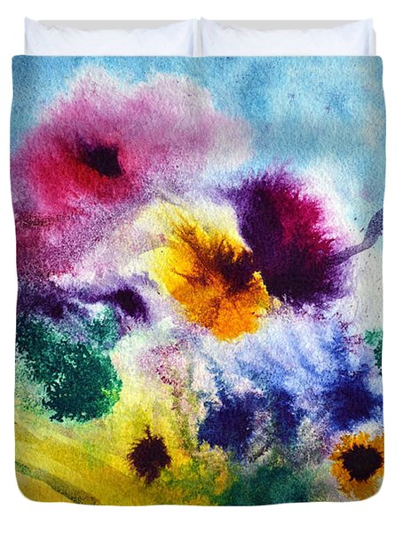 Duvet Cover featuring the painting Fleurs by Joan Hartenstein
